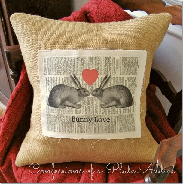 CONFESSIONS OF A PLATE ADDICT Vintage Bunny Love Valentine Pillow