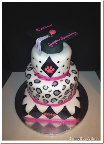 Graduation Cake with Cheetah Print www.savingdougssanity.blogspot.com