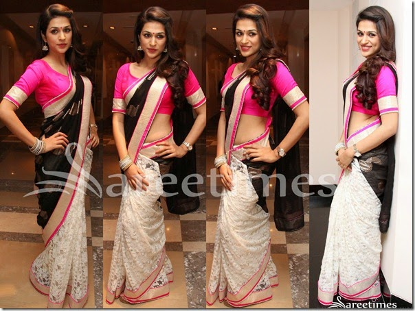 Shraddha_Das_White_Black_Half_and_Half_Sari(2)