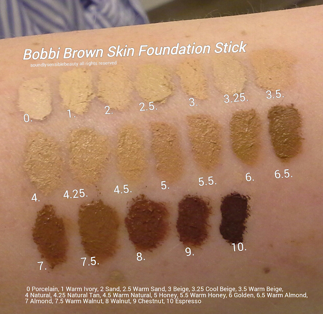 Bobbi Brown Skin Foundation Stick; Review & Swatches of Shades-00 Alabaster, 0 Porcelain, 1 Warm Ivory, 2 Sand, 2.5 Warm Sand, 3 Beige, 3.25 Cool Beige, 3.5 Warm Beige, 4 Natural, 4.25 Natural Tan, 4.5 Warm Natural, 5 Honey, 5.5 Warm Honey, 6 Golden, 6.5 Warm Almond, 7 Almond, 7.5 Warm  Walnut, 8 Walnut, 9 Chestnut, 10 Espresso