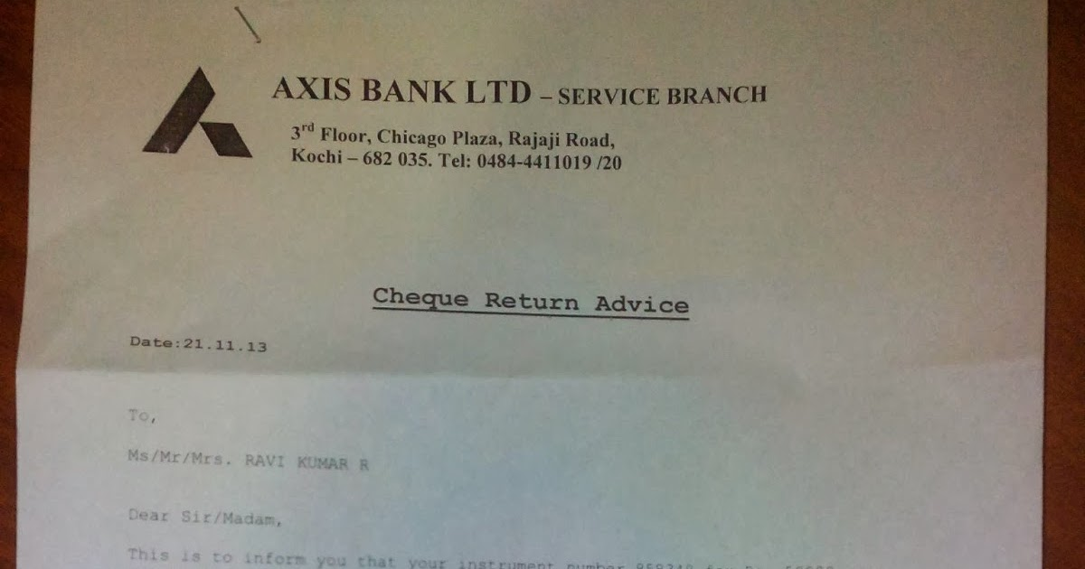 Ace Keralam Cheque Return Letter From Bank