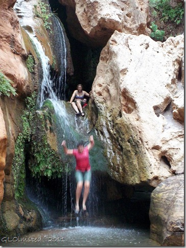 02 Kristi jumping & Shelly next at Elves Chasm ~RM 117.2 Colorado River trip GRCA NP AZ (768x1024)