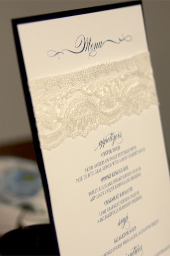 A detail of the menu, which also boasted lace trim.