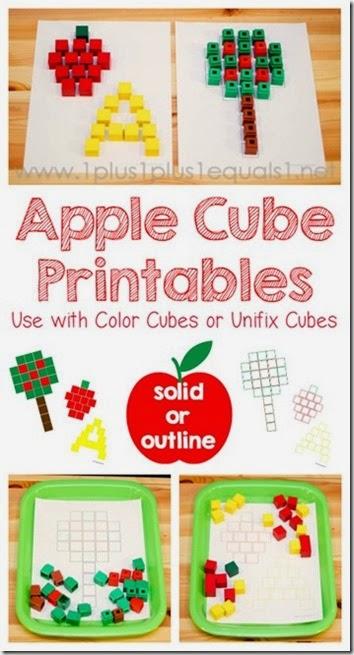 apple cube printable mats #preschool #apples #math #kindergarten
