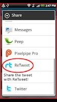Screenshot of ReTweet (Twitter helper app)