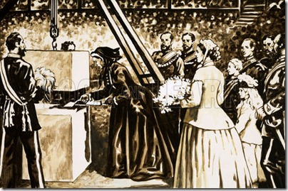Why They Were Built: The Albert Hall. The opening of the Albert Hall by the aging Queen Victoria in 1871. Original artwork from Look and Learn no. 441 (27 June 1970).