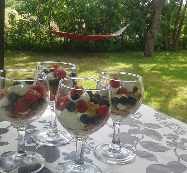 Hallon, blåbär, jordgubbar, digestivekex, grädde, Sösdala, Hängmatta