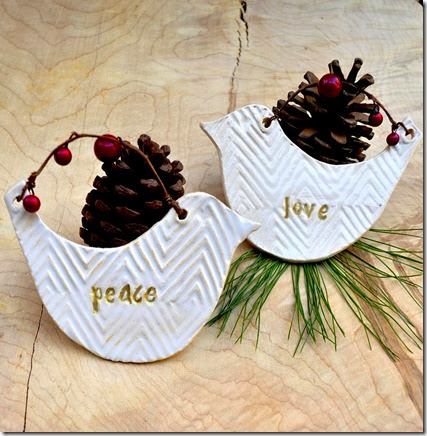 peaceand love bird ornaments