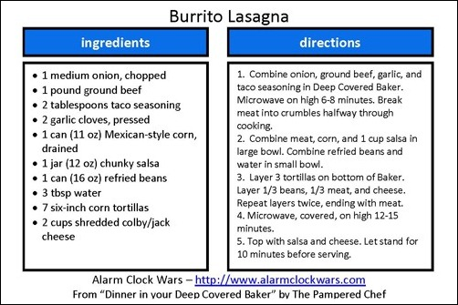 burrito lasagna recipe card