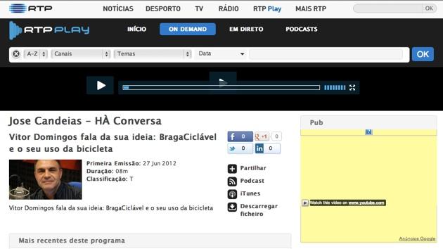 Braga Ciclável na Antena 1: José Candeias entrevistou Victor Domingos