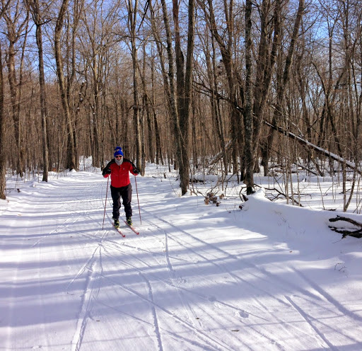 Bob Koshnick out for a afternoon skate ski. Firm solid,deck with light dusting on top. Will be groomed again before the weekend.