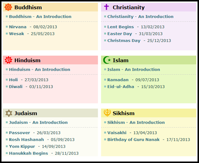 Holidays from the six major religions, including buddhism, christianity, hinduism, islam, judaism and sikhism