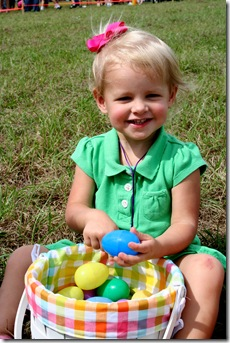 Cori with blue egg