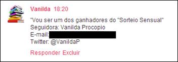 2 Vanilda - deixou comentário