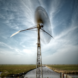 Churning the clouds by Mike Bing - Landscapes Prairies, Meadows & Fields ( holland, cloudscape, camperduin, windmill )