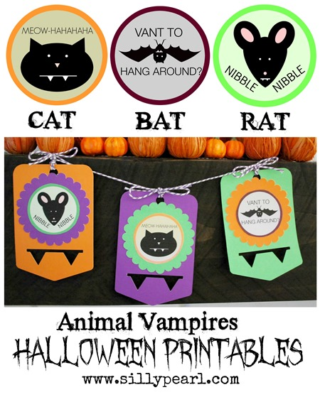 Animal Vampires - Halloween Printables by The Silly Pearl
