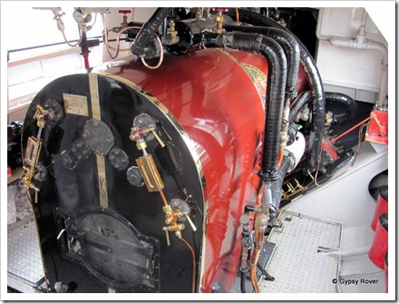 "Steam boiler of steam yacht ""Gondola""  Burns enviromentally clean compressed fire logs."
