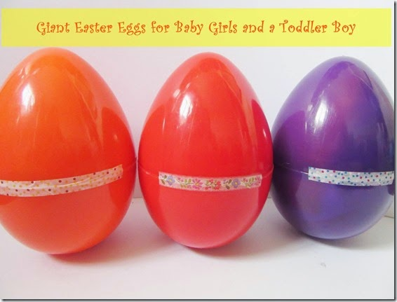 giant easter eggs for baby girls and a toddler boy