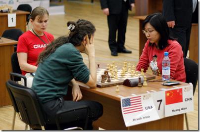 Irina Krush vs Huang Qian, 3rd Round, Women's World Ch 2012, Khanty-Mansiysk Russia