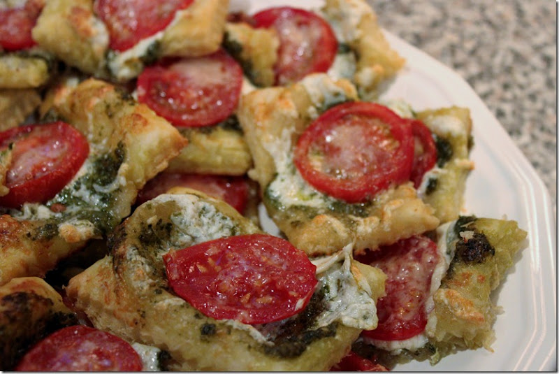 Mozarella, Tomato, and Pesto Square Tarts