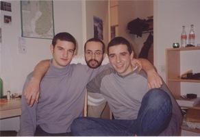 Con Jan y Mario. Diciembre de 2001
