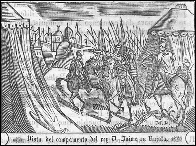 Capitulacion de Valencia_ Jaume I en Ruzafa. Grabado. Mitad siglo XIX