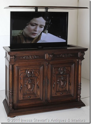 Antique Henri II Walnut Buffet TV Lift