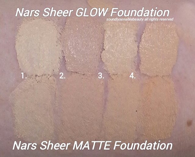 Nars Sheer Matte Foundation; Review & Swatches of Shades Light 1 Sibera, Light 2 Mont Blanc, Light 3 Gobi, Light 4 Deauville