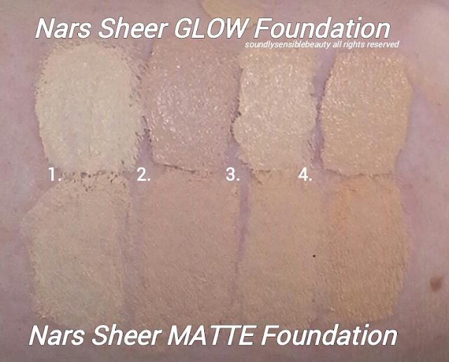 Nars Sheer Matte Foundation; Review & Swatches of Shades Light 1 Sibera, Light 2 Mont Blanc, Light 3 Gobi, Light 4 Deauville