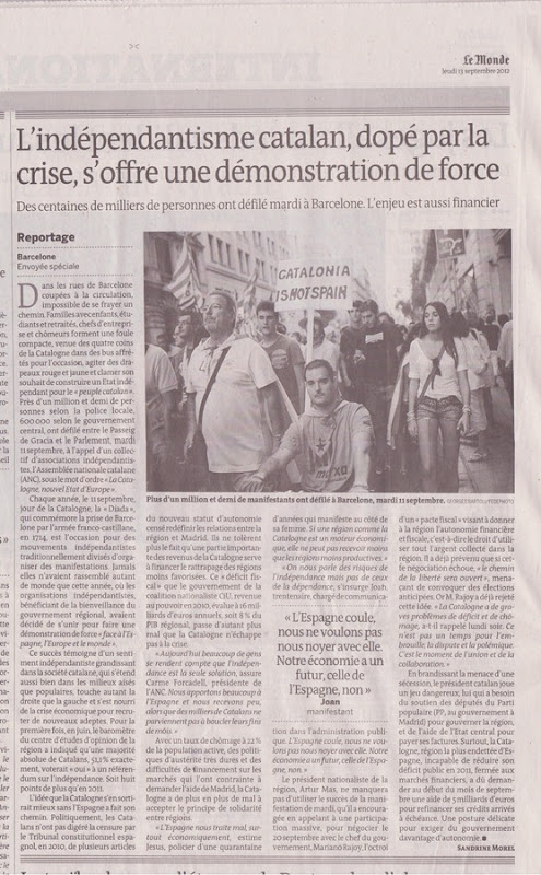 article Le Monde a prepaus de la manifestacion del 110912