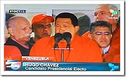 Hugo Chavez reeleito.Out 2012