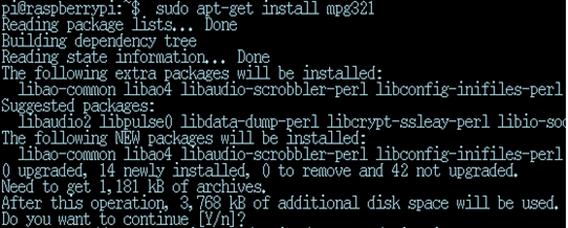 sudo apt-get install mpg321