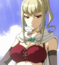 A blonde elf with hair up, angular red eyes, cape clasped around her neck, and very buxom.