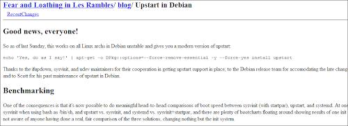 Il nuovo Upstart approda su Debian SID