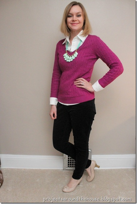 berry sweater, white button down, black skinnies, mint necklace