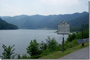 Gauley Bridge marker looking toward the Kanawha Valley