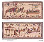 Gobelin prezentujący historię podboju Brytanii w XI wieku – wycinek słynnego gobelinu królowej Matyldy, żony Wilhelma Zdobywcy – księcia Normandii.