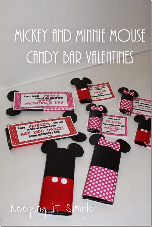 Mickey and Minnie Mouse Candy Bar Valentines