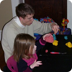One day Avery wanted to play with playdoh, but we didn't have any, so Gabe looked up a recipe and made some :)
