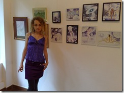 Artista Corina Chirila la vernisajul salonului de grafica din Herastrau 16 Iunie 2011