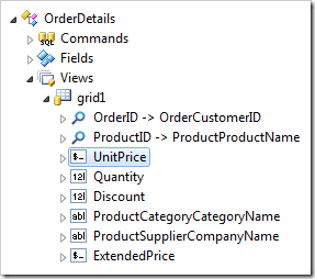 UnitPrice data field node in 'grid1' view of OrderDetails controller.