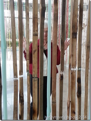 Nancy at the Indianapolis Museum of Art, lobby exhibit of bamboo art.