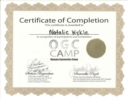 Natalie's camp certificate - signed by Svetlana Boguinskaia and Sam Peszek