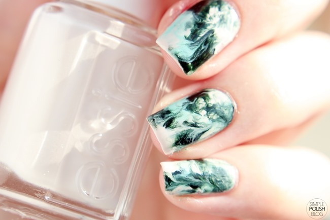 Dry-Marble-Nails-Saran-Wrap-Dark-Green-3