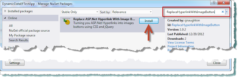 "Find the ""Replace Hyperlink With Image Button"" NuGet Package"