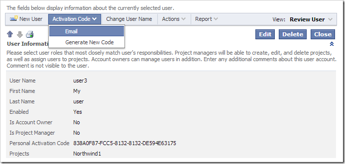 Emailing the activation code to the user's email address.
