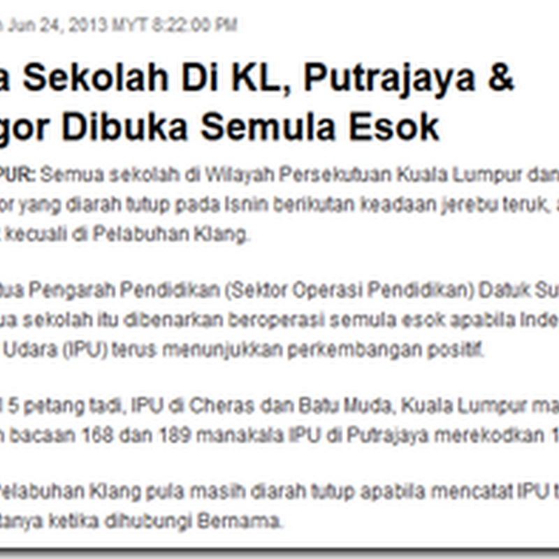 Esok KL dan Selangor , sekolah ke cuti ni ?