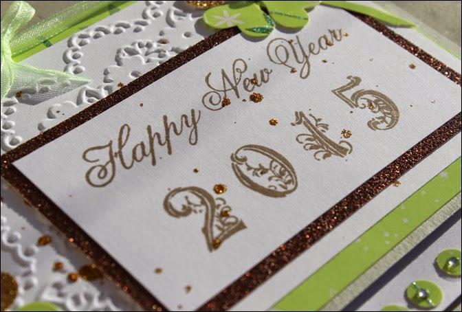 Stampin Up Neujahr Grußkarte Kleeblatt Gold 2015 02