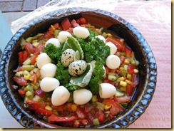 Salad quaill eggs