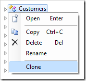 Clone context menu option for Customers controller.